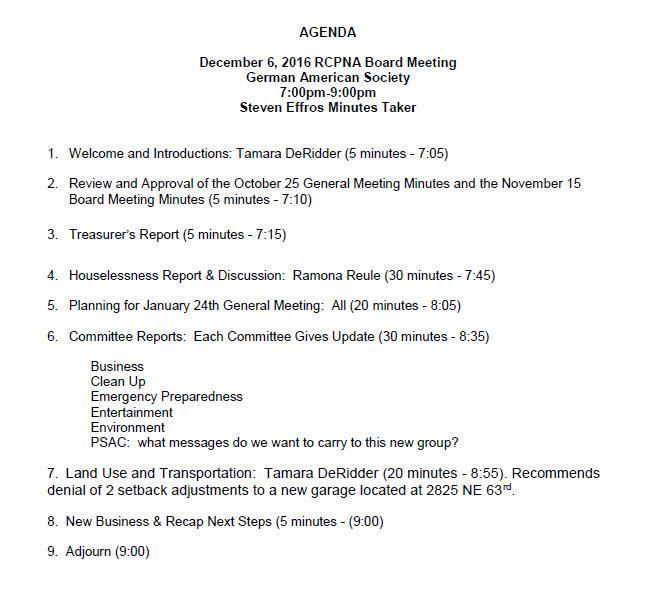 RCPNA Dec 6 Board Meeting Agenda Rose City Park Neighborhood