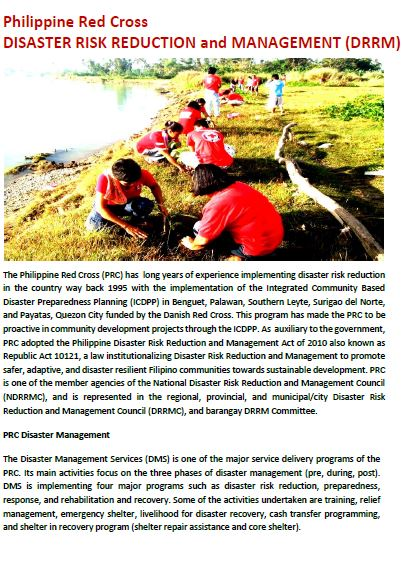 Disaster Risk Reduction and Management (DRRM) RC 143 Resilience - disaster relief flyer