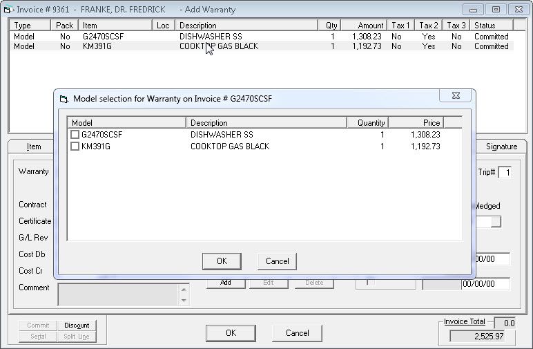 Adding Extended Warranty to an Invoice