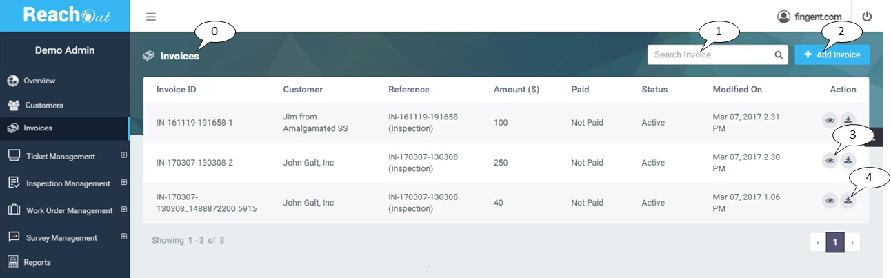 What is the Invoices view for? ReachOutSuite