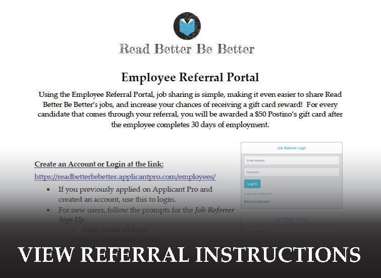 Candidate Referral Program - Read Better Be Better