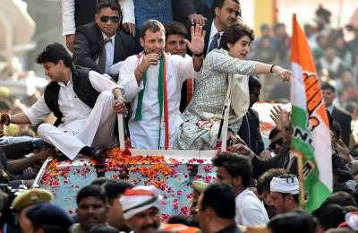 Lucknow: Congress President Rahul Gandhi with  party general secretaries Priyanka Gandhi Vadra and Jyotiraditya Madhavrao Scindia during a roadshow, in Lucknow, Monday, Feb. 11, 2019. (PTI Photo/Nand Kumar)(PTI2_11_2019_000154A)
