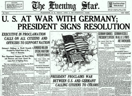 The United States Enters World War I 28 Newspaper Front Pages from - newspaper