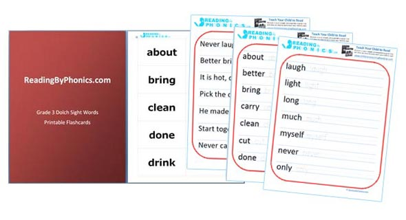 Dolch 3rd Grade Sight Words Flashcards and Worksheets