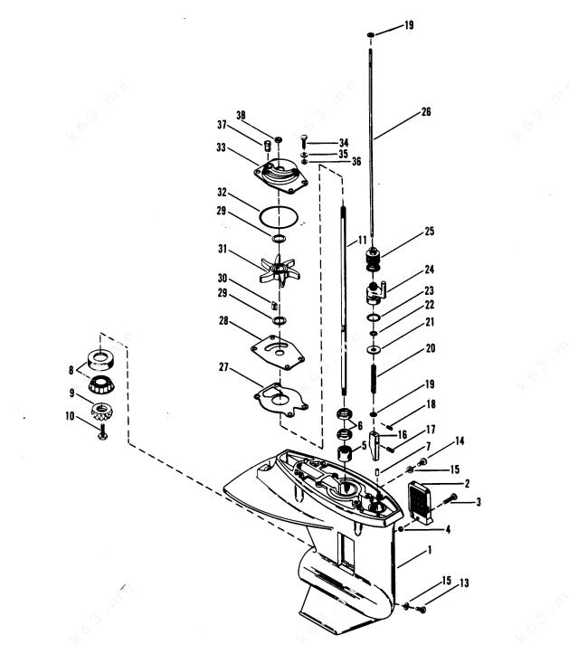 diagram of 25xd mercury outboard 9415101 thru 9507380 gear housing