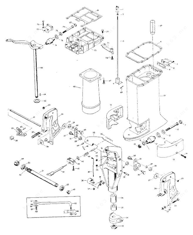 1980 mercury chrysler outboard 95b0f motor leg diagram and parts