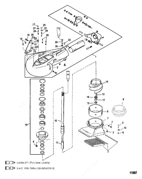 mercury marine mercury outboard 1043412vd jet pump assembly diagram