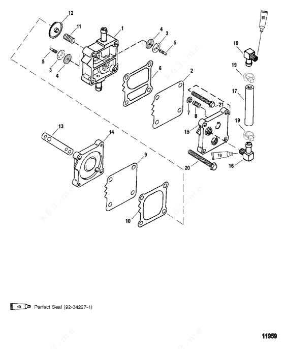 mercury outboard 0g303046 thru 0g760299 fuel pump diagram and parts
