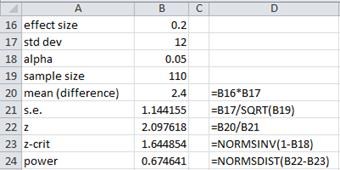 Power effect size Excel
