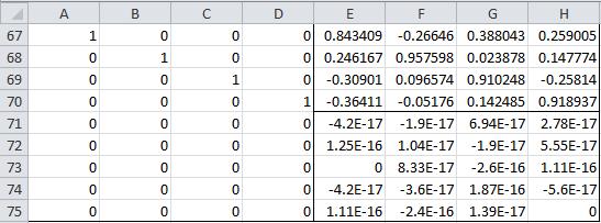 Rotation matrix Excel