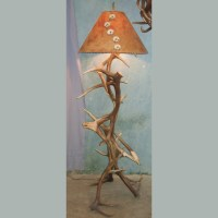 Folk Art Eagle Elk Antler Floor Lamp