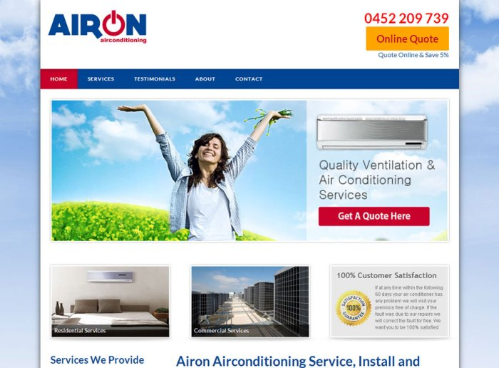 Airon Air Conditioning Perth Service Install and Repair Website