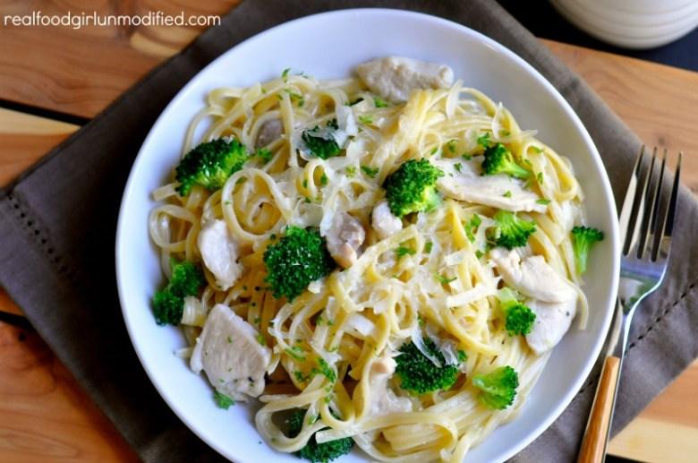 Paleo Chicken and Broccoli Fettuccini Skillet Dinner