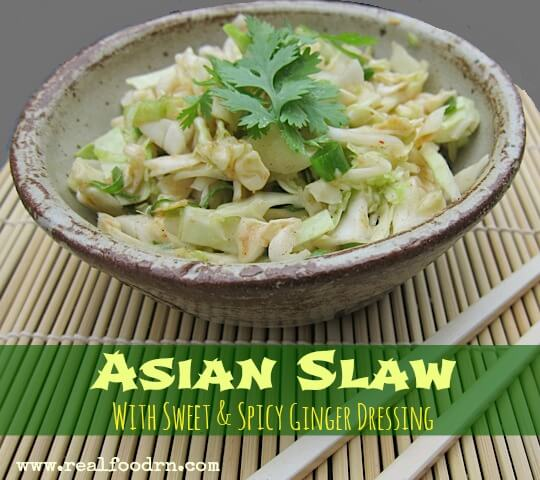 Asian Slaw with Sweet & Spicy Ginger Dressing