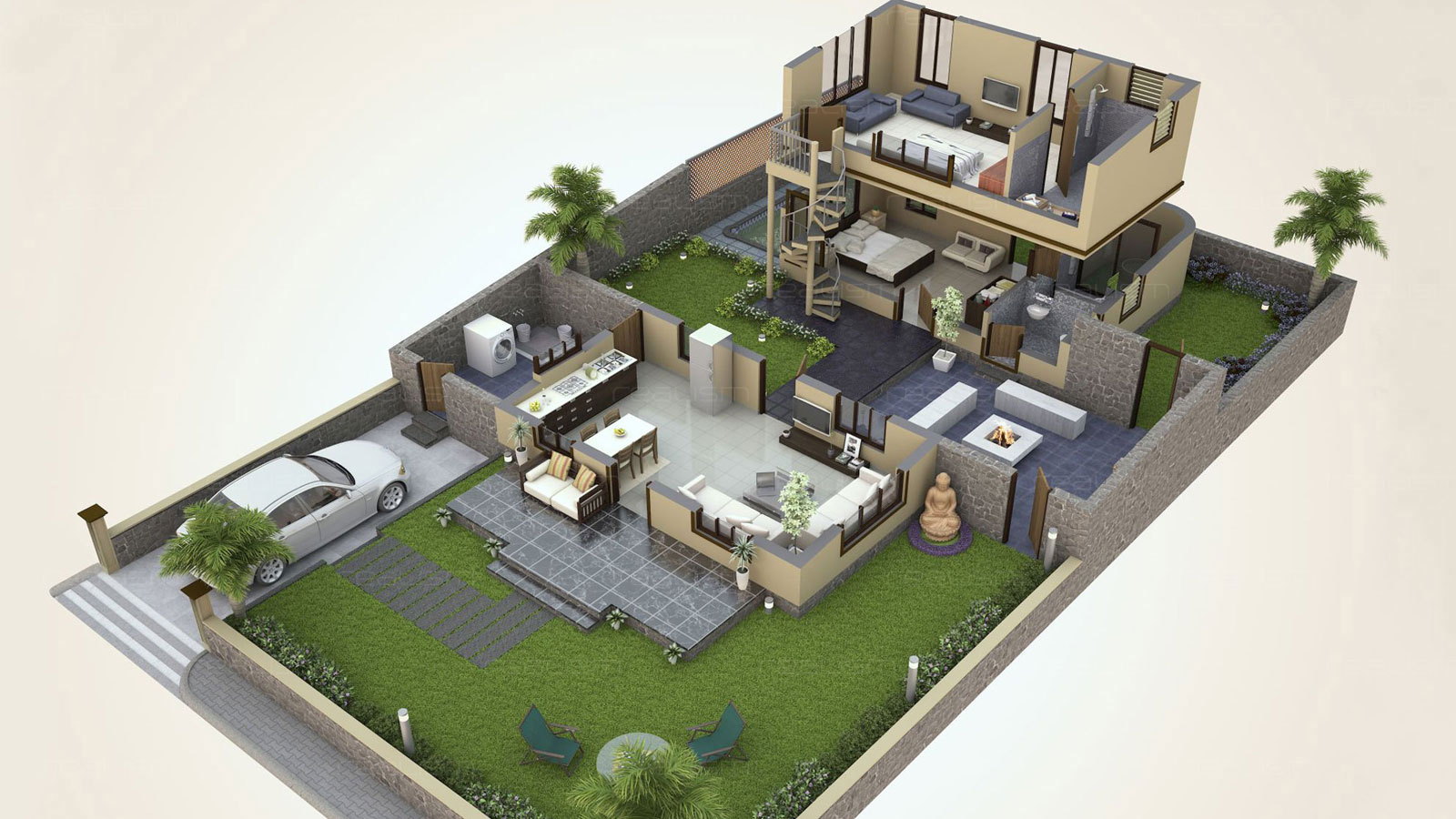 isometric home 3d view