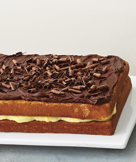 Yellow Cake With Pastry Cream Filling, Chocolate Ganache Frosting