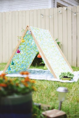 A cheerful A-frame tent.
