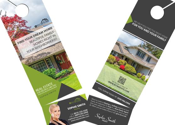 Real Estate Door Hanger Rip Cards Door hangers Business Card Slits