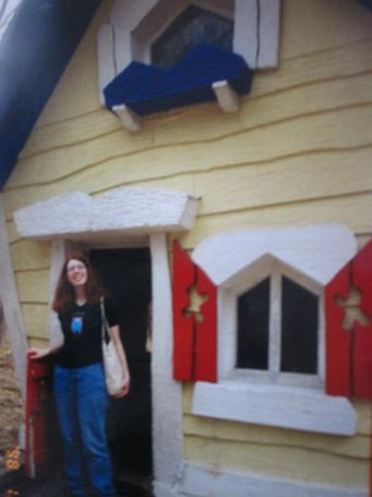 Visiting the Three Bears' house in 2002.