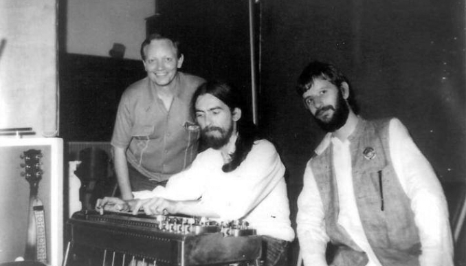 Collaboration is key: Ringo in the studio with George Harrison and Pete Drake, 1970.
