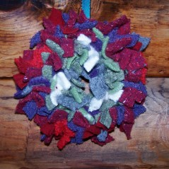 Wool scraps tied on wire frame