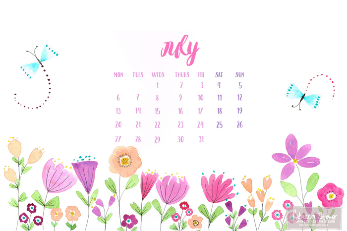 July Desktop Calendar by Rebecca Stoner