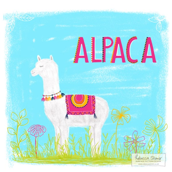 A for Alpaca - Animal Alphabet by Rebecca Stoner www.rebeccastoner.co.uk