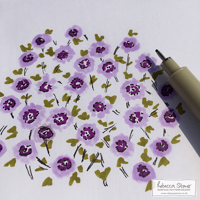 Ditsy Flowers in marker pens by Rebecca Stoner www.rebeccastoner.co.uk