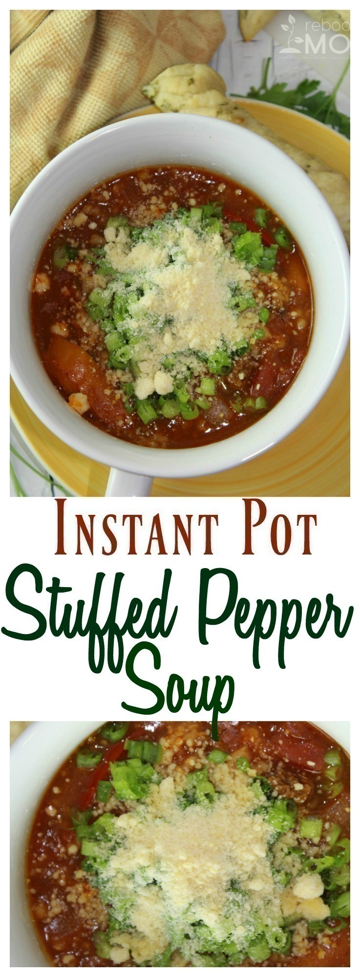 This One Pot Stuffed Pepper Soup in the Instant Pot is a quick one-pot meal that you can whip up in 30 minutes or less!