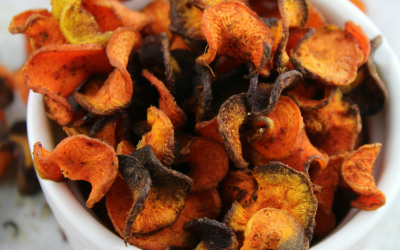 A light and healthy carrot chip spiced with cinnamon or cayenne pepper and baked until crispy.