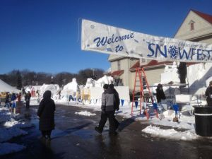 Snow-sculpting in Frankenmuth 2013; I was there to have my helium leak detector fixed.