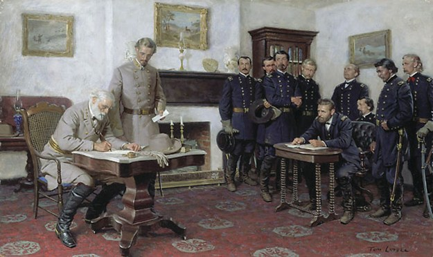 Surrender at Appomattox; with Grant are Philip H. Sheridan, Orville E. Babcock, Horace Potter, Edward O.C. Ord, Seth Williams, Theodore S. Bowers, Ely S. Parker and George A. Custer. With Lee is Charles Marshall, his military secretary.