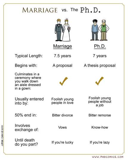 Marriage vs PhD, from Piled Higher and Deeper (PhD) comics.