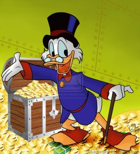 Scrooge McDuck. he'd likely be a Republican, if only to protect his wealth.