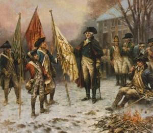 Washington at Trenton with captured regimental flag. December 25, 1776. Peale.