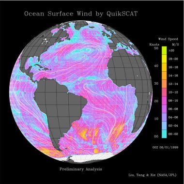 Surface level winds in the Atlantic.