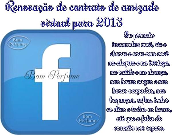 Recado Facebook Contrato de amizade para 2013