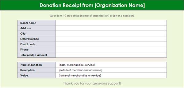 Charitable Donation Receipt Template #1