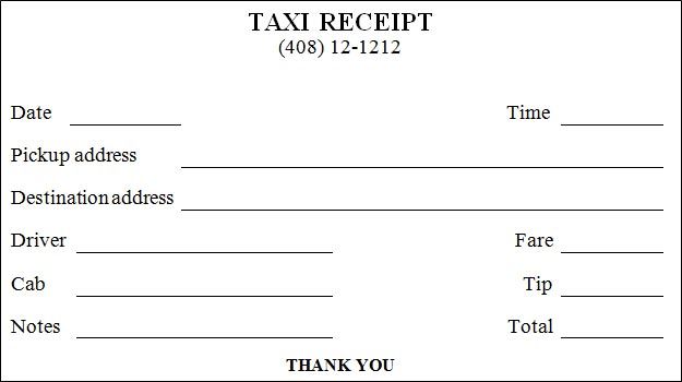 sample cab receipt - Selol-ink