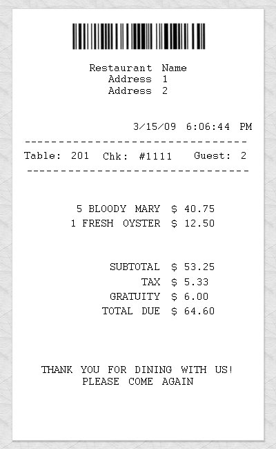 Blank Restaurant Receipt - create a receipt in word