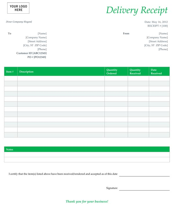 Free Delivery Receipt Template - Delivery Receipt Form