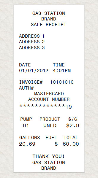 Gas Station Receipt - how do you make a receipt