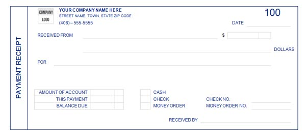 Payment Receipt Form - payment received receipt template