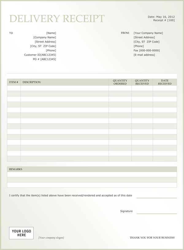 Sample Delivery Receipt - Delivery Receipt Form