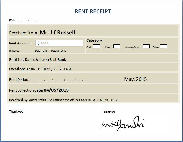 Cash Receipt Templates for MS Word  Excel Receipt Templates - how to write a cash receipt