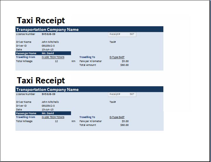 MS Excel Taxi Receipt Template Receipt Templates