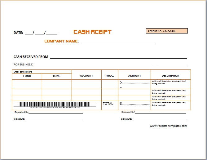 Sample Advance Receipt Template Receipt Templates - cash invoice template