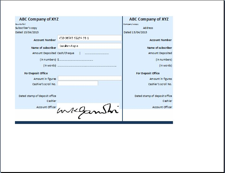Business Account Receipt Template Receipt Templates