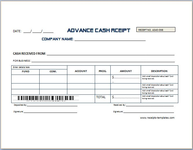 Non Refundable Deposit Receipt Template Receipt Templates