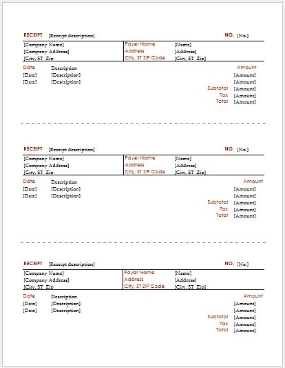 Driver Payment Receipt Template for MS Word Receipt Templates